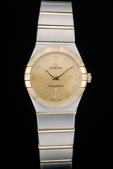 Swiss Lady Omega Constellation Stainless Steel Bracelet Golden Dial 80292