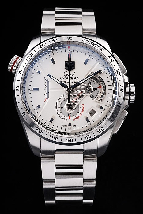 Tag Heuer Swiss Carrera Tachymeter Bezel Stainless Steel White Dial