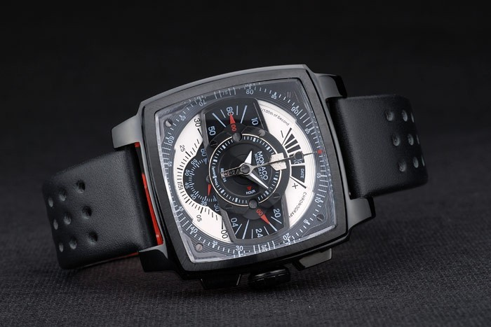 Tag Heuer Monaco Black-Red Perforated Leather Strap Black Dial 80309