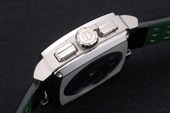 Tag Heuer Monaco Black-Green Perforated Leather Strap White Dial 80306