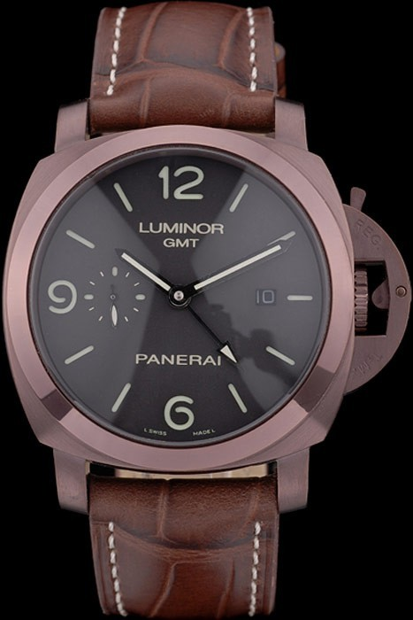 Panerai Luminor Brown Leather Strap Black Dial 80160