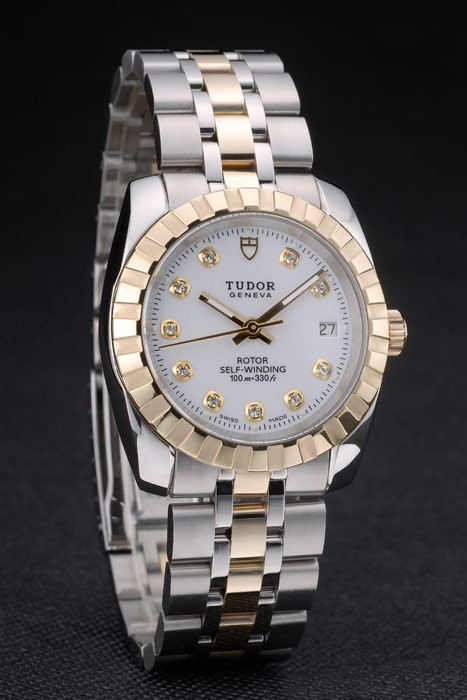 Swiss Tudor Classic Rose Gold Ribber Bezel Crystal Encrusted White Dial 80301
